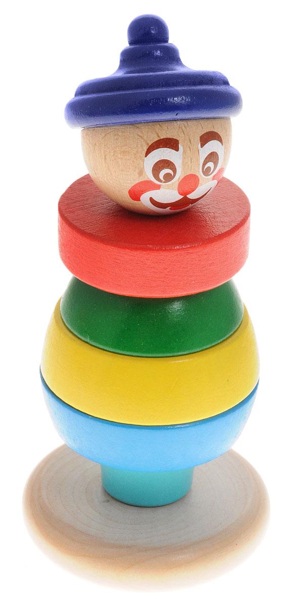 Бомик Пирамидка Клоун цвет колпака синий814Яркая оригинальная пирамидка Бомик Клоун заинтересует вашего малыша. Игрушка состоит из основания, на которое нанизываются цветные колечки разного диаметра, вершина в виде головы клоуна и колпак. В комплекте 7 деталей. Собрать пирамидку не так просто: округлое качающееся основание делает игру еще более увлекательной и интересной. Игры с пирамидкой Бомик Клоун помогут ребенку в развитии мелкой моторики рук, координации движений, познакомят с понятиями формы, цвета и размера предмета (больше-меньше). Все элементы выполнены из натурального дерева.