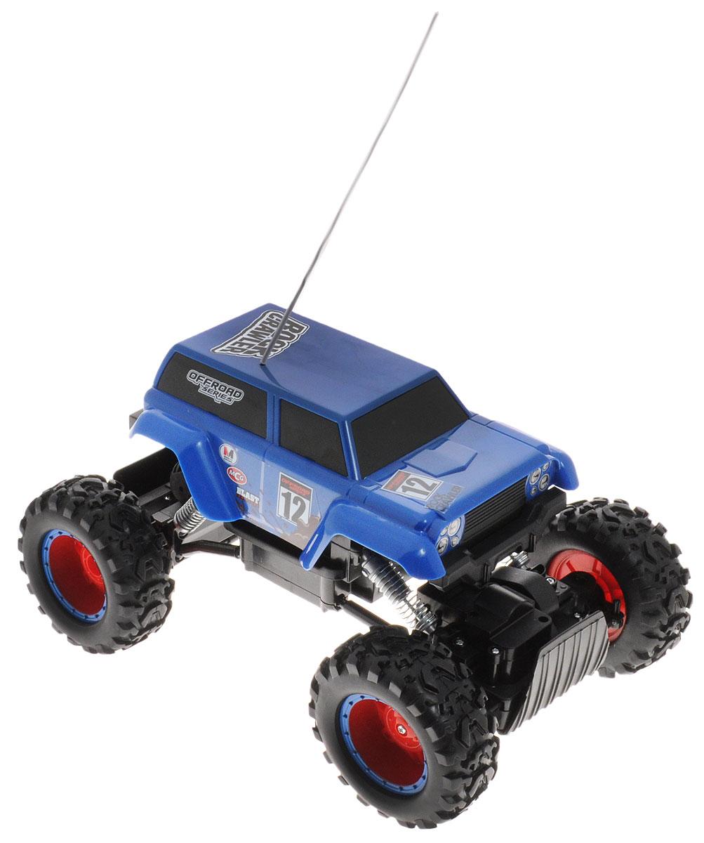 Maisto Вездеход на радиоуправлении Rock Crawler цвет синий81152 R/C_синийВездеход на радиоуправлении Maisto Rock Crawler станет отличным подарком любому мальчишке! Мощный внедорожник на огромных колесах с настоящими пружинными амортизаторами и внушительным пластиковым бампером не оставит равнодушными ни детей, ни взрослых. Благодаря выдающимся характеристикам ходовой части играть с машиной можно на улице, при этом она будет легко преодолевать значительные препятствия. Вездеход движется вперед, назад, вправо и влево. Пульт управления работает на частоте 27 MHz, а радиус его действия составляет 10 метров. Машина работает от сменного аккумулятора (входит в комплект). Для работы пульта управления необходима батарейка типа Крона (входит в комплект).