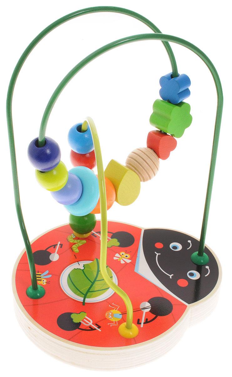 Бомик Лабиринт Божья коровка812Лабиринт Бомик Божья коровка помогает развитию мелкой моторики, тренировки мышц кисти и отработки кругового движения. Для того чтобы провести маленькую деталь по лабиринту ребенок должен сделать много мелких точных движений пальчиками. Включайтесь в игру вместе с малышом, называя цвета и формы бусинок, и побуждая его повторять за вами - это отличная тренировка для развития речи. Взрослых игрушка расслабляет и снимает стресс. Мелкие детали не снимаются. Игрушка изготовлена из натурального дерева.