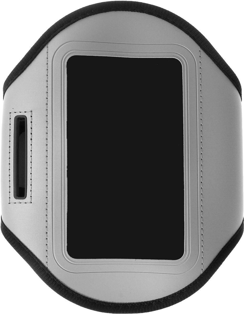 Чехол для телефона Sapfire, на руку, цвет: черный, серый0923-SAM_серый,черныйСпортивный чехол для телефона на предплечье Sapfire регулируется под любой размер бицепса. Он выполнен из полиуретана и лайкры. Специальный ремень позволяет плотно закрепить смартфон на руке, что гарантирует его сохранность во время спортивных занятий. Отделка из дышащей ткани исключает раздражение кожи в месте крепления. Чехол подойдет для Iphone 4,4s и других устройств с большим экраном. Максимальный размер экрана: 5,1 дюйма. Чехол также оснащен маленьким кармашком для ключа. Максимальный обхват руки: 34 см. Минимальный обхват руки: 23 см.