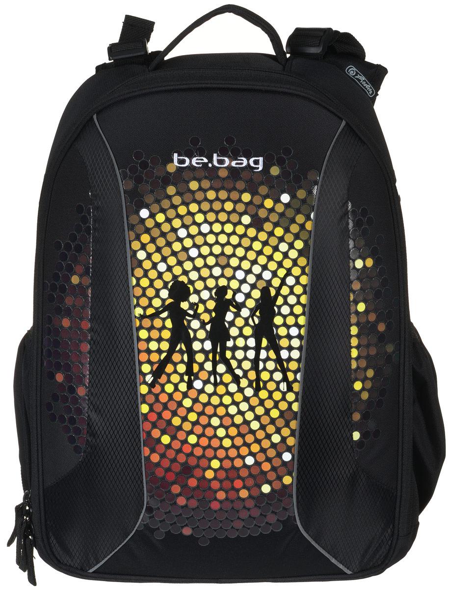 Herlitz Ранец школьный Be Bag Dance11410008Школьный ранец Herlitz Be Bag. Dance изготовлен по жестко-каркасной технологии, что обеспечивает правильную эргономичную форму. Каркас не деформируется при нагрузке и распределяет вес по всей площади ранца. Ранец содержит два вместительных отделения, закрывающихся на застежки-молнии с двумя бегунками. В большом отделении находится мягкая перегородка для тетрадей или учебников, фиксирующаяся хлястиком на липучке. Во втором отделении расположены карман-сетка, органайзер для канцелярских принадлежностей, кармашек под мобильный телефон и лента с карабином для ключей. Изделие имеет два открытых боковых кармана на резинках. Ранец оснащен регулируемыми по длине плечевыми лямками и дополнен текстильной ручкой для переноски в руке. Грудное крепление создано специально для фиксации лямок на плечах ребенка. Прочное дно с пластиковыми ножками придает ранцу хорошую устойчивость и защиту от загрязнений. Светоотражающие элементы обеспечивают безопасность в темное время суток. ...