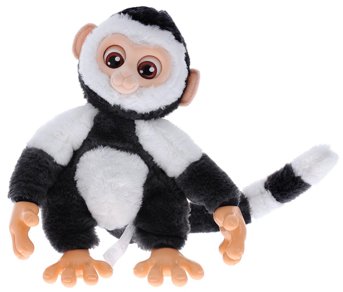 Emotion Pets Интерактивная игрушка Обезьяна цвет серый белый2063776Интерактивная игрушка Emotion Pets Обезьяна непременно понравится вашему малышу и станет его лучшим другом! Трогательная обезьянка покрыта искусственных мехом, она невероятно мягка и приятная на ощупь. Чтобы поиграть с веселой обезьянкой, переведите выключатель в спинке игрушки в режим ON - обезьянка проснется, подвигает хвостом и издаст милые звуки! Чтобы покормить обезьянку, поднесите пищу ко рту игрушки, и вы услышите, как она жует. После еды она поблагодарит вас, двигая хвостом и издавая счастливые звуки. Если она не хочет есть, она издаст разочарованный звук. Обезьянка очень любит обниматься. Благодаря своим специальным хватательным ручкам, она может держаться на чем угодно. Если вы погладите обезьянку по голове или по животику, она издаст счастливые звуки и будет двигать хвостом. Игрушка переходит в спящий режим, если вы не будете играть с ней в течение 60 секунд. Чтобы уложить питомца спать, необходимо подвесить его за хвост вниз головой - как и...