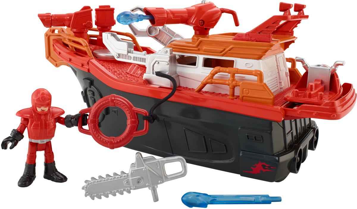 Imaginext Пожарная лодкаCGH88Если кто-то терпит бедствие на воде или причал охвачен огнем - городская пожарная лодка готова плыть на помощь! Приключение начинается, когда ребенок ставит фигурку пожарника на диск и поворачивает его. Затем он спускает лодку на воду, закачивает насосом воду и нажимает на диск, чтобы мощной струей погасить пожар. Кроме того, лодка оборудована пушкой, стреляющей водяными снарядами, так что она умеет держать удар! А если пожарному нужно подобраться к месту действия поближе, юные спасатели могут поставить фигурку пожарного на аквабайк и стремительно помчаться к цели! Все элементы набора выполнены из качественных и безопасных материалов.