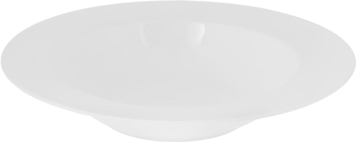 Тарелка глубокая Wilmax, диаметр 24 смWL-991129Глубокая тарелка Wilmax, выполненная из высококачественного фарфора, предназначена для подачи супов и других жидких блюд. Она прекрасно впишется в интерьер вашей кухни и станет достойным дополнением к кухонному инвентарю. Тарелка Wilmax подчеркнет прекрасный вкус хозяйки и станет отличным подарком.