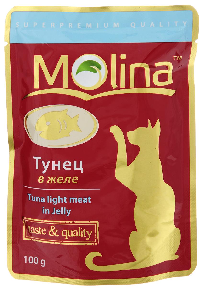 Консервы для кошек Molina, с тунцом в желе, 100 г4620002671136Консервы для кошек Molina - это высококачественный, сбалансированный, натуральный продукт, который содержит все необходимые компоненты, обеспечивающие организм ваших питомцев энергией, витаминами и минеральными веществам, необходимыми для здорового роста и развития. Консервы изготовлены из натурального тунца в желе. Консервы Molina - польза натуральных ингредиентов для долгой и здоровой жизни вашего питомца. Товар сертифицирован.
