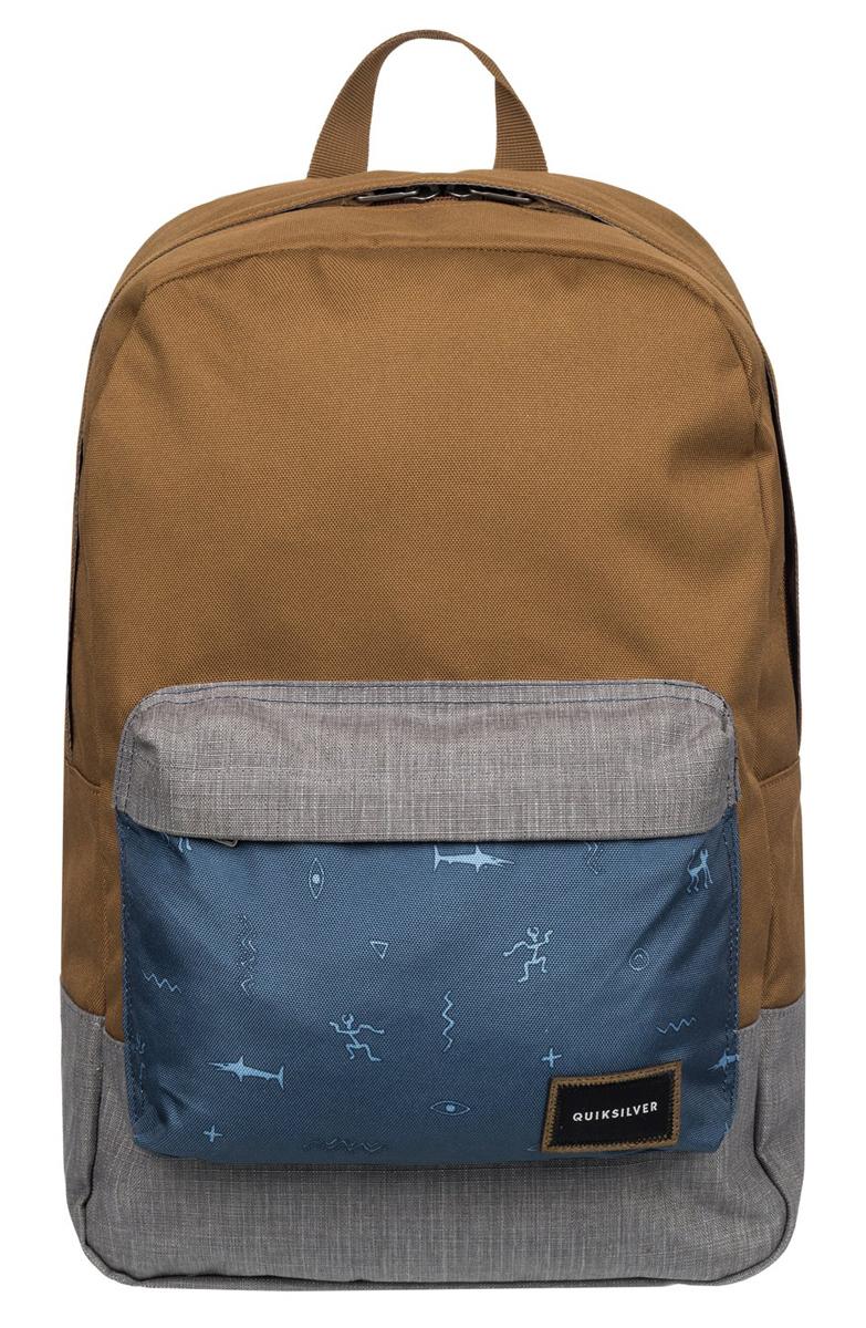 Рюкзак городской муж Quiksilver Night track print, цвет: коричневый, серый, 22 лEQYBP03278-CQF6