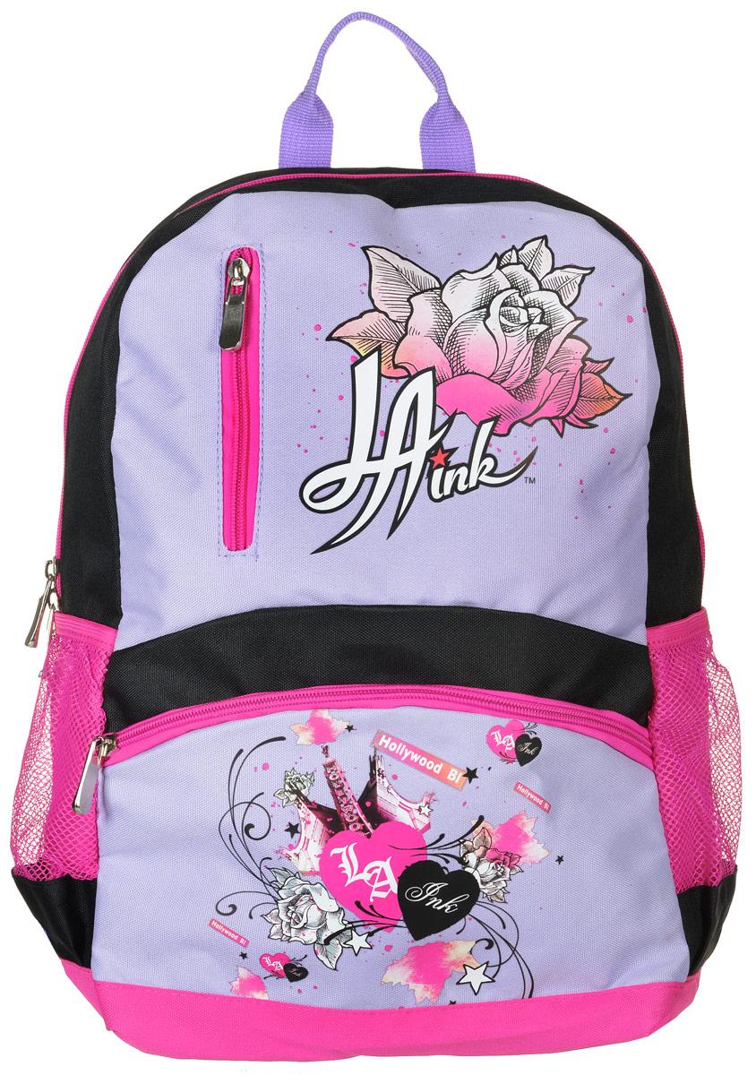 Action! Рюкзак детский La Ink цвет черный розовый сиреневыйDI-AB11034/1Детский рюкзак Action! La Ink - это красивый и удобный рюкзак, который подойдет всем, кто хочет разнообразить свои будни. Рюкзак выполнен из полиэстера. Рюкзак имеет одно основное вместительное отделение, которое закрывается на застежку-молнию с двумя бегунками. Внутри отделения карманов нет. На лицевой стороне расположены два кармана на молниях. По бокам рюкзака находятся два кармана-сетки на резинках. Рюкзак оснащен удобной текстильной ручкой для переноски. Светоотражающие элементы обеспечивают безопасность в местах движения автомобилей и помогут пересечь проезжую часть в сумерки или темное время суток. Улучшенная спинка с выпуклыми рельефными вставками создана для комфортного ношения на спине. Широкие лямки можно регулировать по длине. Многофункциональный детский рюкзак станет незаменимым спутником вашего ребенка.