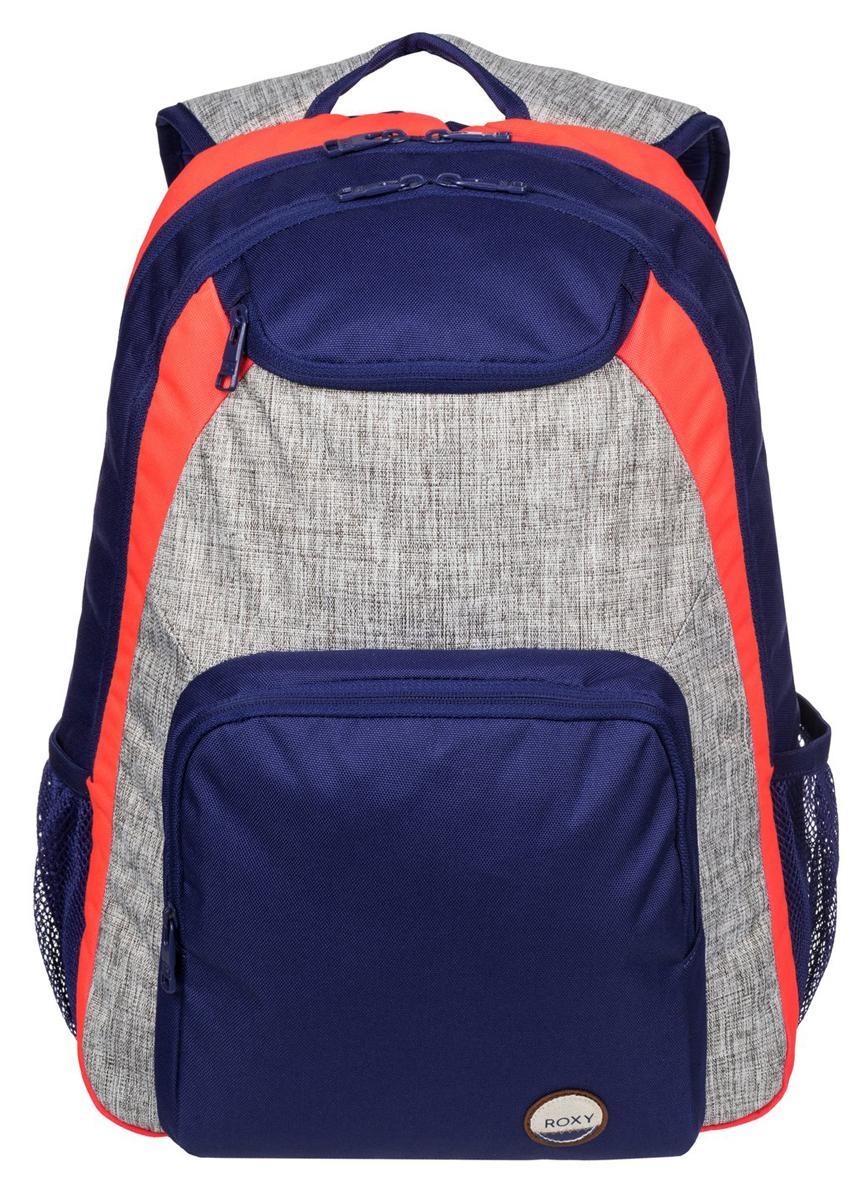 Рюкзак женский Roxy Shadow, цвет: синий, серый, оранжевый. ERJBP03271-BSQ0ERJBP03271-BSQ0Женский рюкзак Roxy выполнен из текстиля. У модели одно основное отделение. Передний карман на молнии. Рюкзак с регулируемыми по длине плечевыми лямками и петлей для подвешивания.