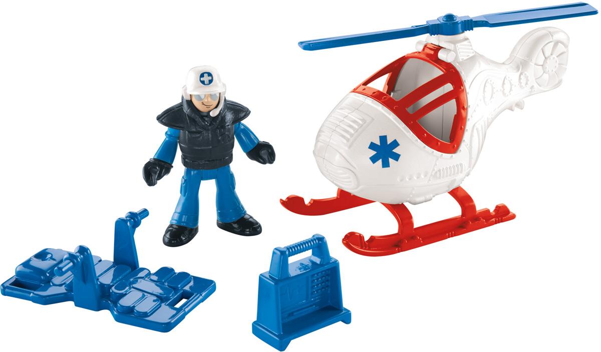Imaginext Игровой набор Городские спасатели X7614CJM55_X7614Игровой набор Imaginext Городские спасатели содержит все, что нужно маленьким героям-спасателям! В набор входят: спасательный вертолет, носилки, электрокардиограф, костюм пилота и фигурка пилота-спасателя. Лопасти вертолета вращаются, руки и ноги пилота сгибаются, голова поворачивается. С этим чудесным набором малыш сможет придумать множество ситуаций и историй со спасательными операциями.
