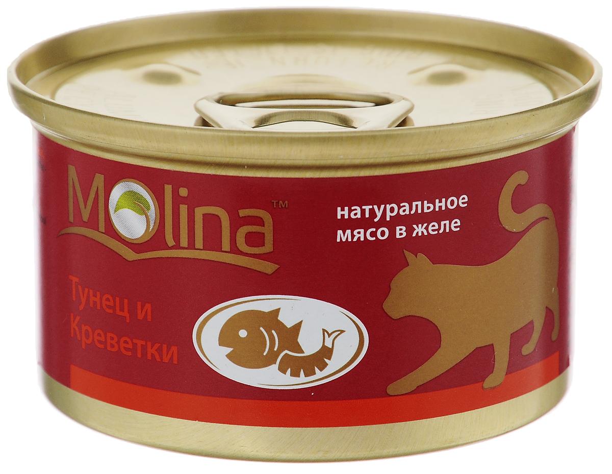 Консервы для кошек Molina, с тунцом и креветками в желе, 80 г4620002670924ККонсервы для кошек Molina - это высококачественный, сбалансированный, натуральный продукт, который содержит все необходимые компоненты, обеспечивающие организм ваших питомцев энергией, витаминами и минеральными веществам, необходимыми для здорового роста и развития. Консервы изготовлены из натурального мяса тунца и креветок в желе. Консервы Molina - польза натуральных ингредиентов для долгой и здоровой жизни вашего питомца. Товар сертифицирован.