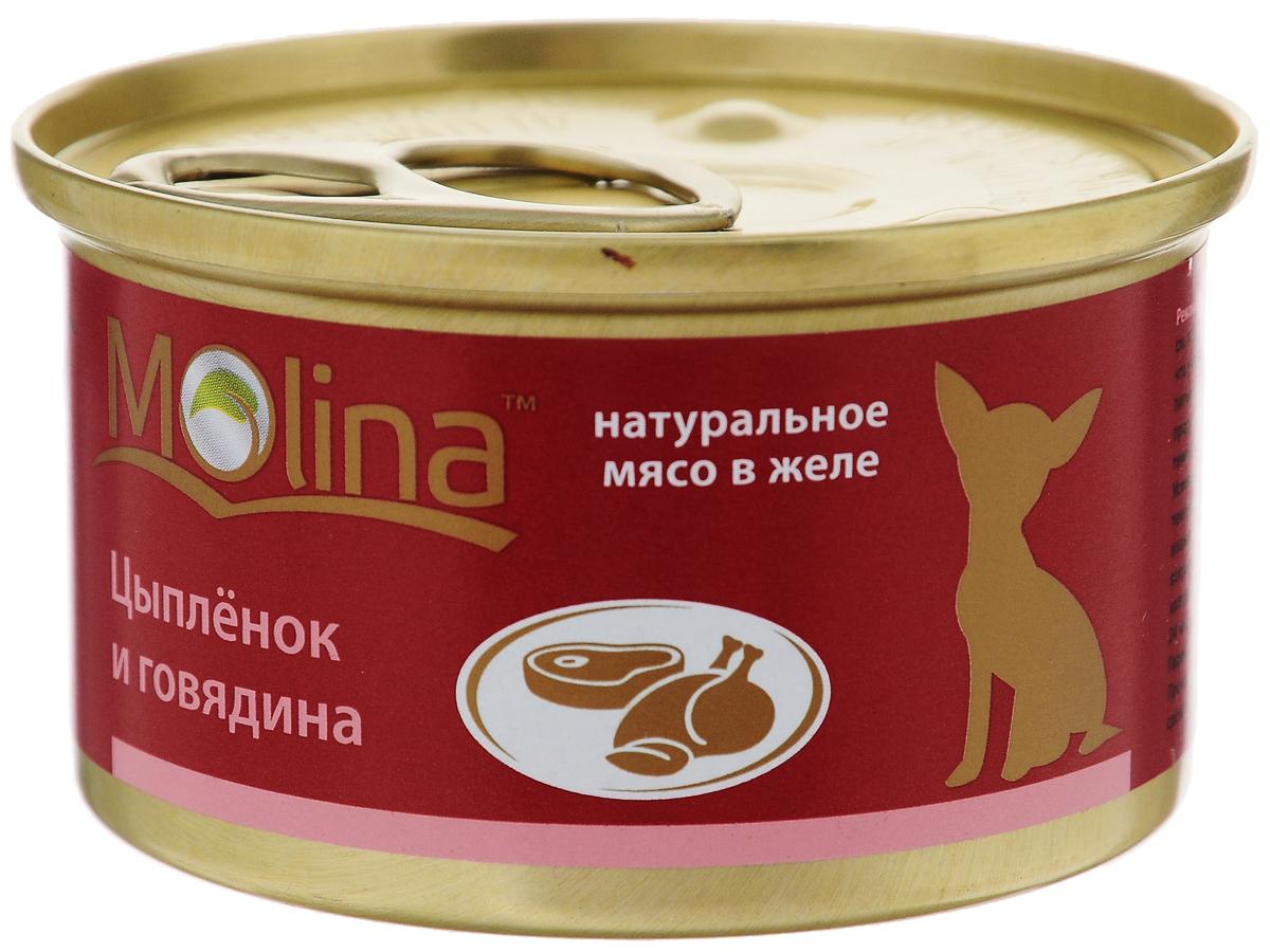 """Консервы для собак """"Molina"""", с цыпленком и говядиной в желе, 85 г 4620002671044"""
