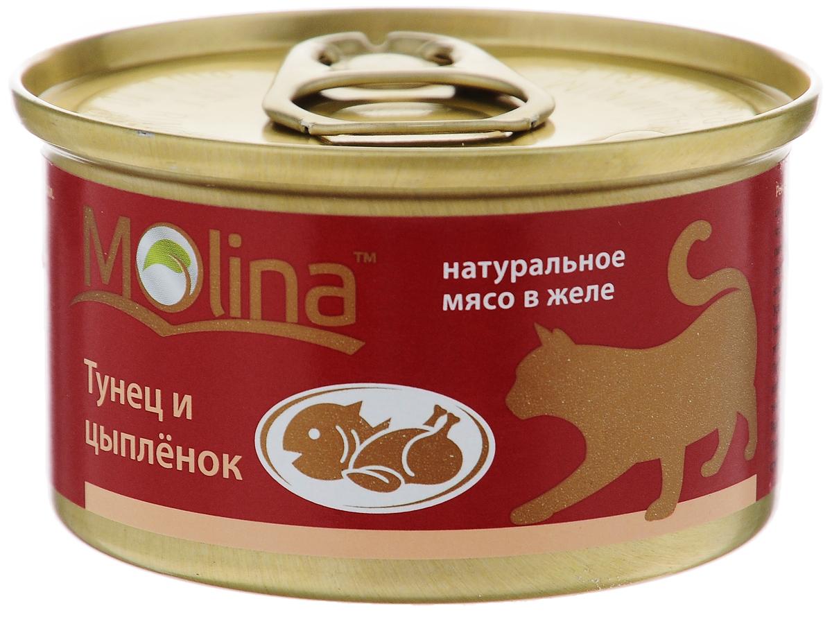 Консервы для кошек Molina, с тунцом и цыпленком в желе, 80 г4620002670863Консервы для кошек Molina - это высококачественный, сбалансированный, натуральный продукт, который содержит все необходимые компоненты, обеспечивающие организм ваших питомцев энергией, витаминами и минеральными веществам, необходимыми для здорового роста и развития. Консервы изготовлены из натурального мяса цыпленка и тунца в желе. Консервы Molina - польза натуральных ингредиентов для долгой и здоровой жизни вашего питомца. Товар сертифицирован.