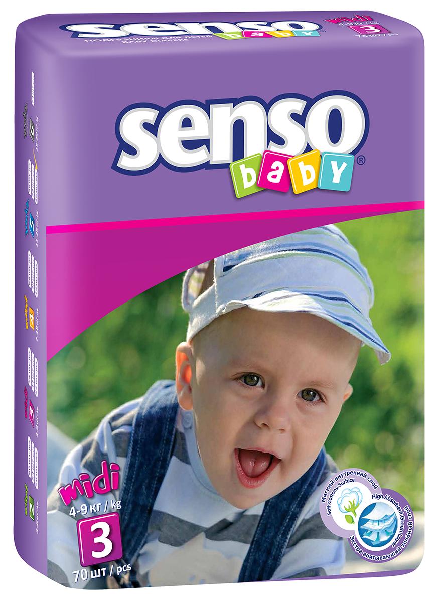 Senso Baby Подгузники детские Midi 4-9 кг 70 шт300055Подгузники Senso Baby - это самые современные технологии, экологичное сырьё и непрерывный контроль качества для комфорта вашего малыша! Подгузники гарантируют сухость на длительное время, безопасность для самой чувствительной кожи детей и непревзойдённое спокойствие во время сна и прогулок. Надёжные и мягкие боковые барьерчики предохраняют от бокового протекания в любой ситуации. Многоразовые липучки гарантируют надёжную и комфортную фиксацию подгузников. Анатомическая форма подгузника обеспечивает идеальную посадку на теле малыша, как во время сна, так и во время активных игр. Дышащий наружный слой с мельчайшими микропорами, изготовленный из нетканого материала, предотвращает появление раздражения и опрелостей на чувствительной детской коже. Нежные и эластичные резиночки не сдавливают ножки малыша и не оставляют следов. Инновационная 3D-система впитывания состоит из нескольких слоёв и содержит улучшенный абсорбирующий материал (sap) и натуральную...