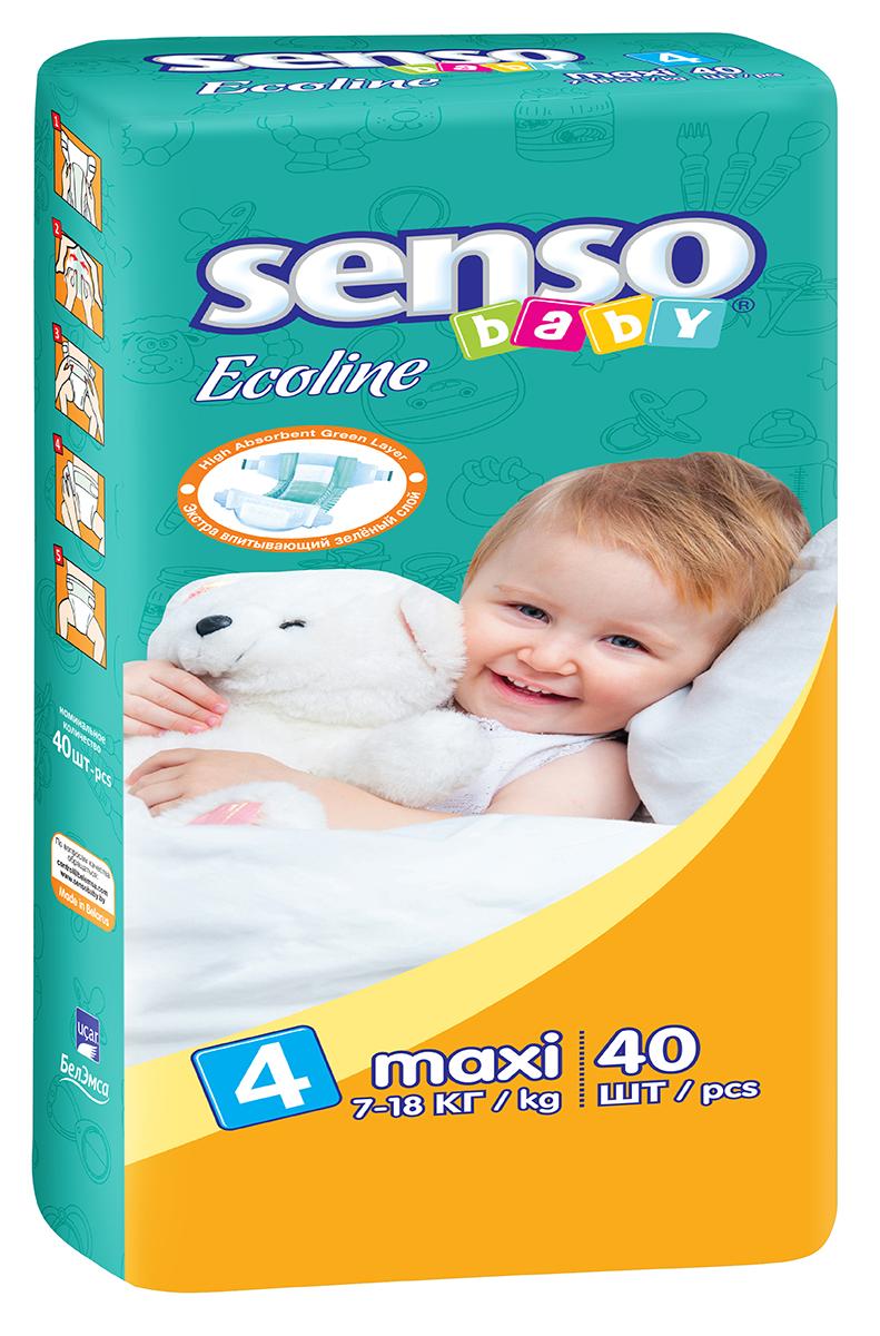Senso Baby Ecoline Подгузники детские Maxi 7-18 кг 40 шт300086