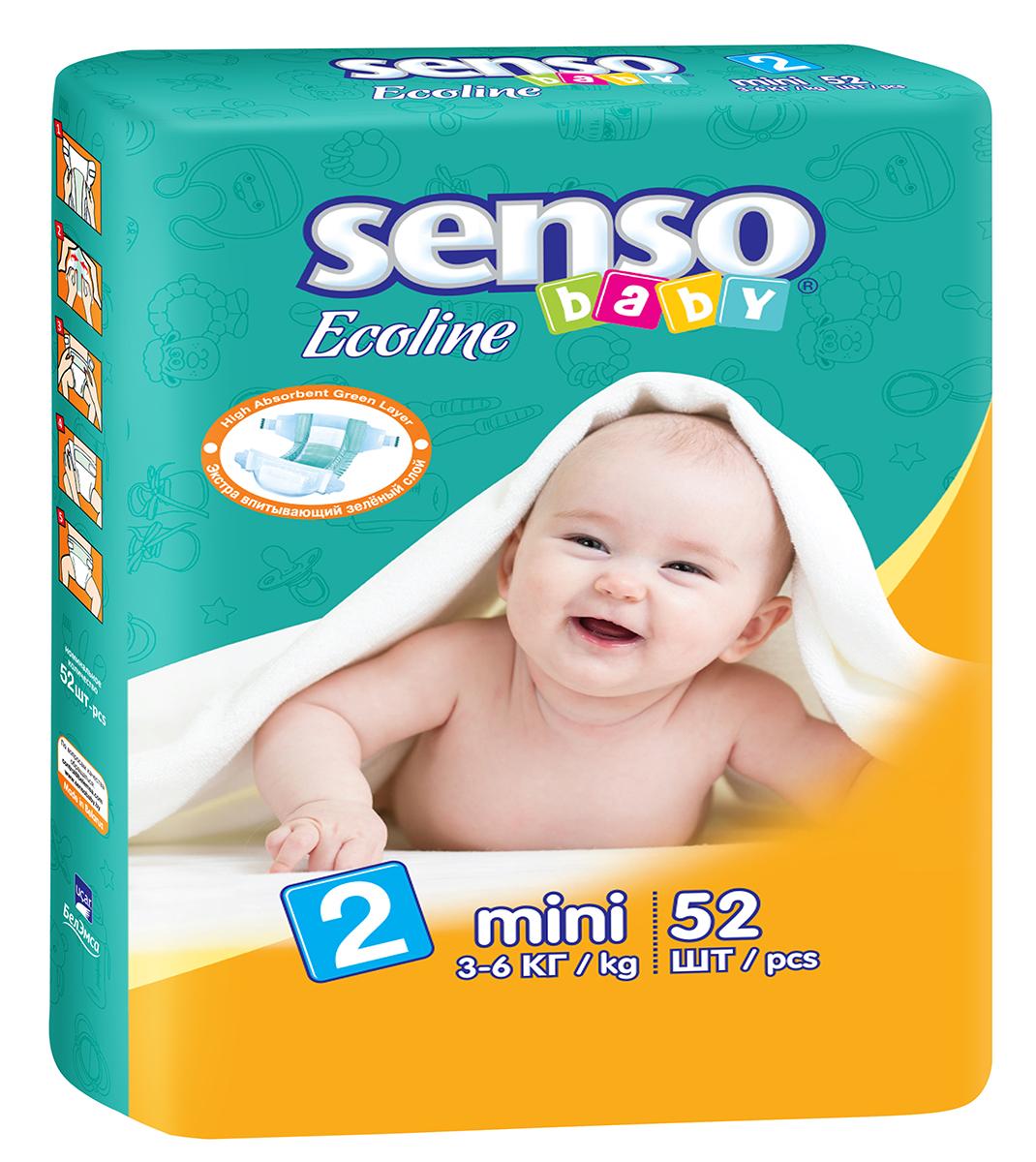 Senso Baby Ecoline Подгузники детские Mini 3-6 кг 52 шт300090