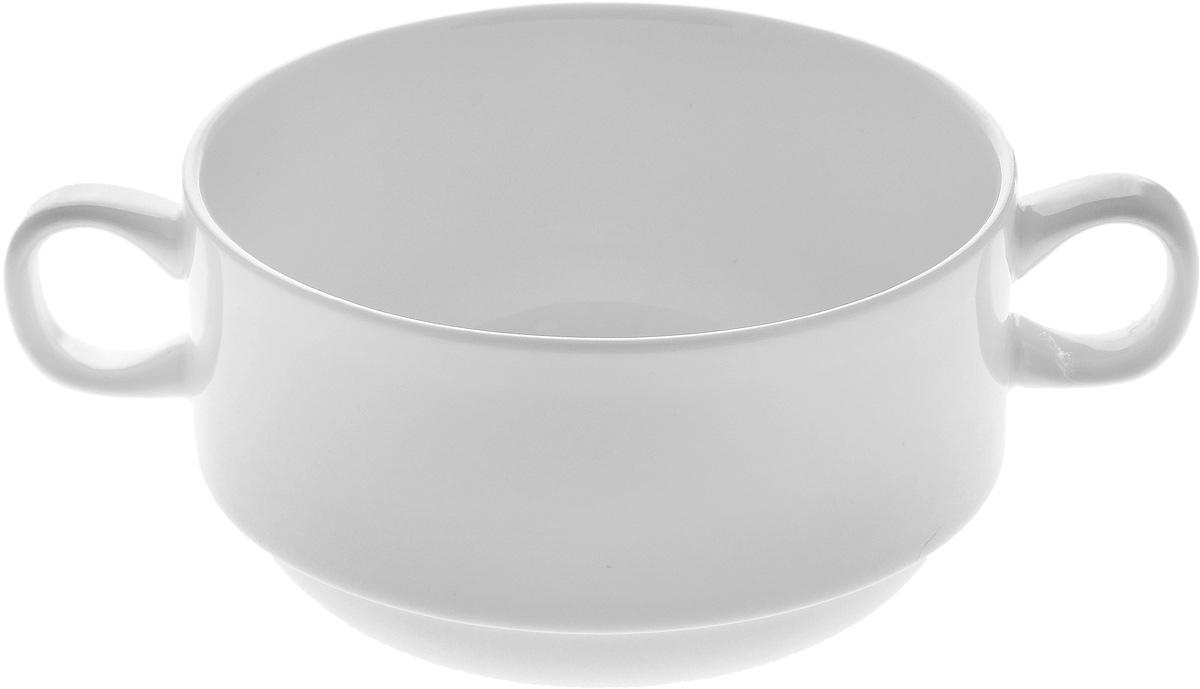 Бульонница Wilmax, 300 млWL-991025 / AБульонница Wilmax изготовлена из высококачественного фарфора. Она имеет широкую горловину и оснащена двумя ручками для удобной переноски. Бульонница подойдет не только для супа, но и для чая или кофе. Такая стильная бульонница украсит сервировку вашего стола и подчеркнет прекрасный вкус хозяина, а также станет отличным подарком. Диаметр (по верхнему краю): 10 см. Высота: 6,5 см. Ширина (с учетом ручек): 14 см.