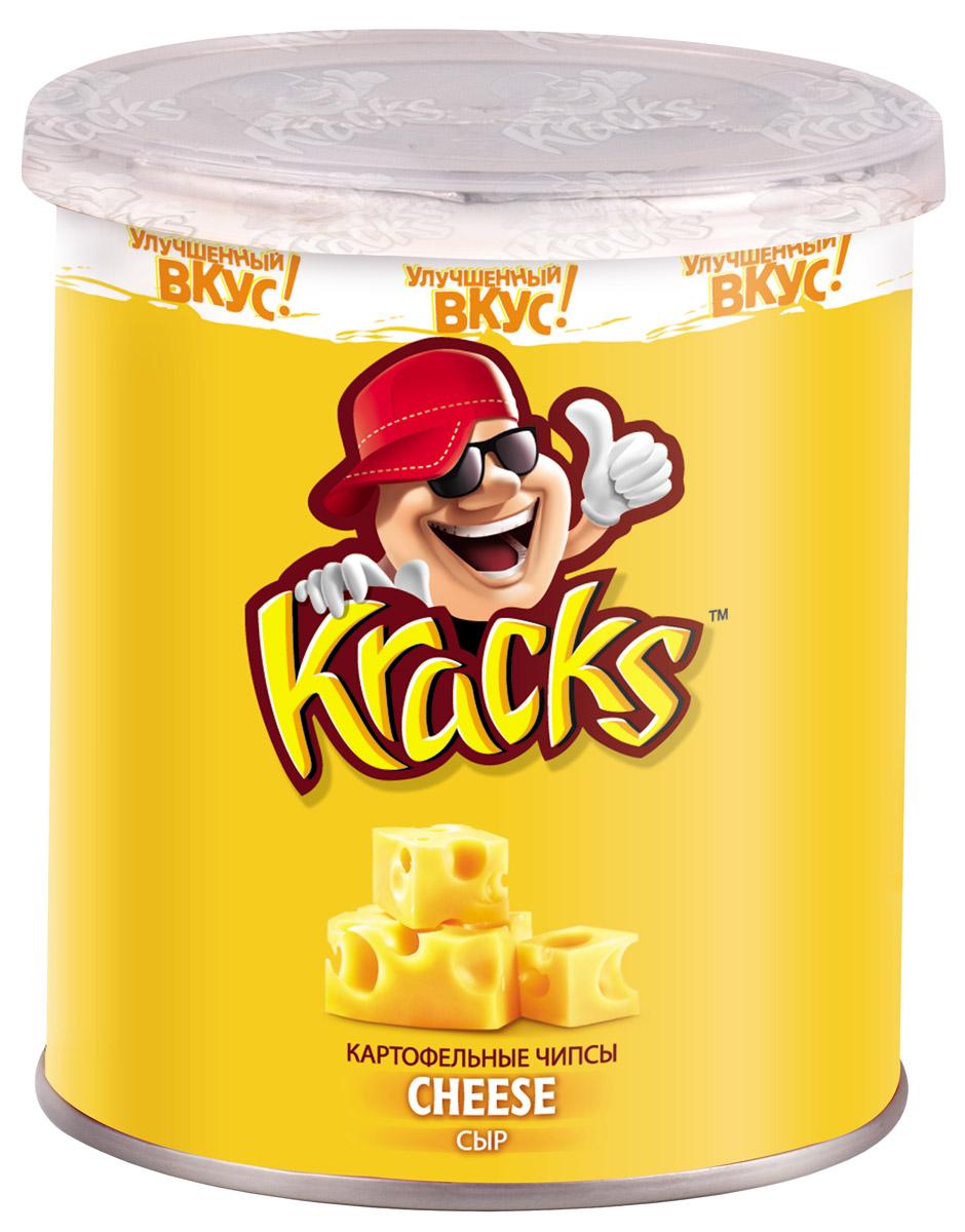 Kracks картофельные чипсы со вкусом сыра, 45 г8887290524018Kracks - это чипсы из высококачественного картофеля с ароматом сыра и обильно посыпанные сырной крошкой. Их основными особенностями являются равномерность обжаривания изогнутых пластинок без избытка масла, а также упаковка в виде тубы, удобная для транспортировки и употребления.
