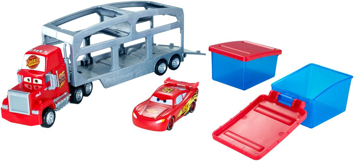 Cars Набор машинок Трейлер МакCKD34В набор машинок Cars Трейлер Мак входят трейлер Мак и гоночная машинка Молния МакКуин. Трейлер Мак довезет чемпиона Молнию МакКуина до трассы и даже поможет изменить его внешний вид! Трейлер оснащен двумя емкостями, под теплую и холодную воду. Теплая вода придаст Молнии красный цвет, а холодная - чёрный! Просто погрузи машинку в соответствующую емкость с водой, и цвет машинки изменится! Смена цвета работает не только с чемпионом, но и с любой машинкой, меняющей цвет.