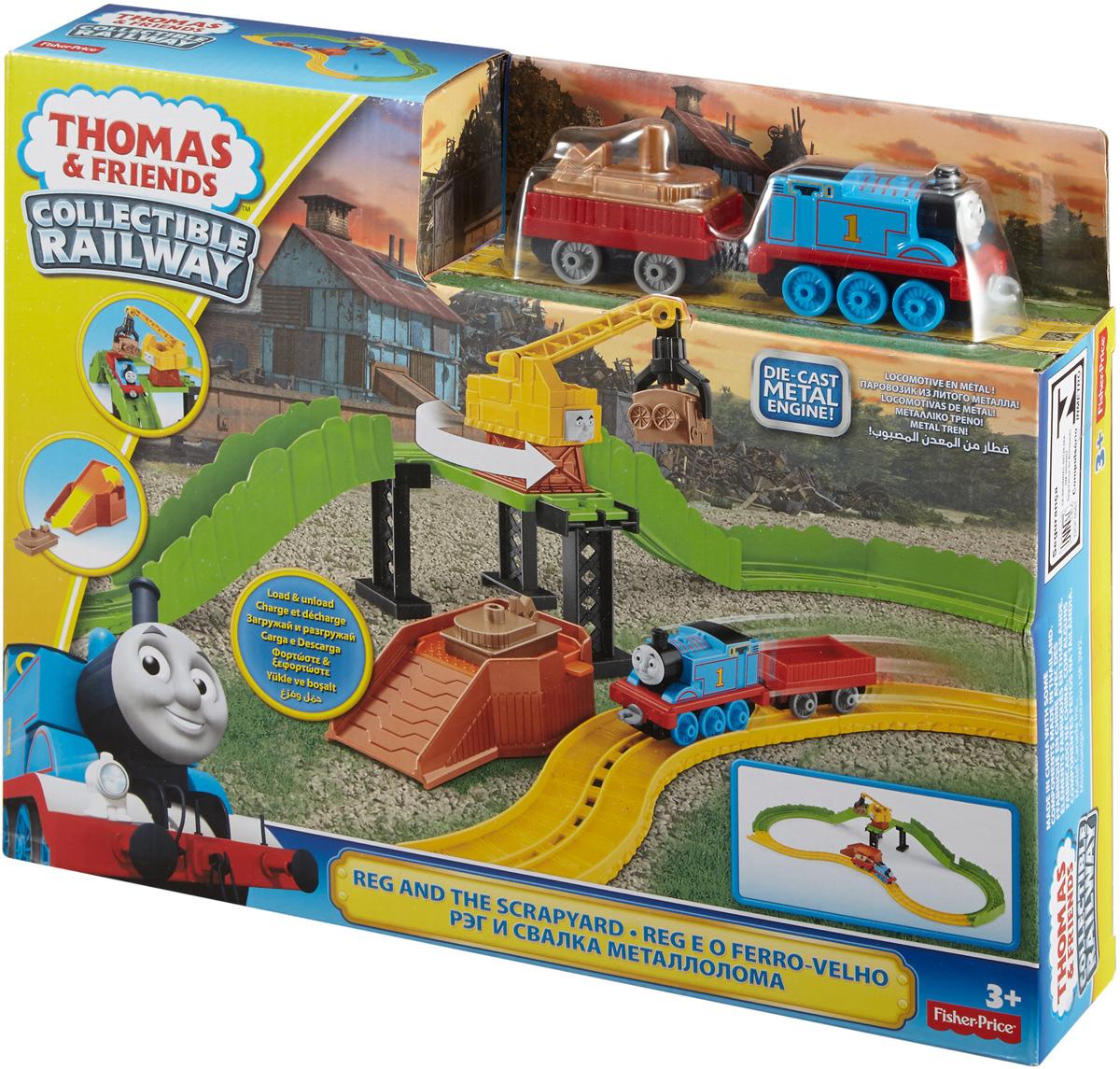 Thomas & Friends Железная дорога Рэг и свалка металлоломаDGC08Замечательный игровой набор Thomas & Friends Рэг и свалка металлолома приведет в восторг юных любителей мультфильма про Томаса. Томас с грузовым вагоном кружит вдоль свалки и ищет запасные части. Его друг Рэг гуляет поблизости и помогает Томасу поскорее загрузить запчасти в грузовой вагон и вернуться на Содор. Найденные детали легко закрепляются в захвате Рэга, а для быстрой доставки к железной дороге кран может сбрасывать их на скат. Из запасных частей можно собрать отличного Мусорного монстра! В комплект входят элементы железной дороги, локомотив Томас, кран Рэг, грузовой вагон, груз, погрузочная платформа.