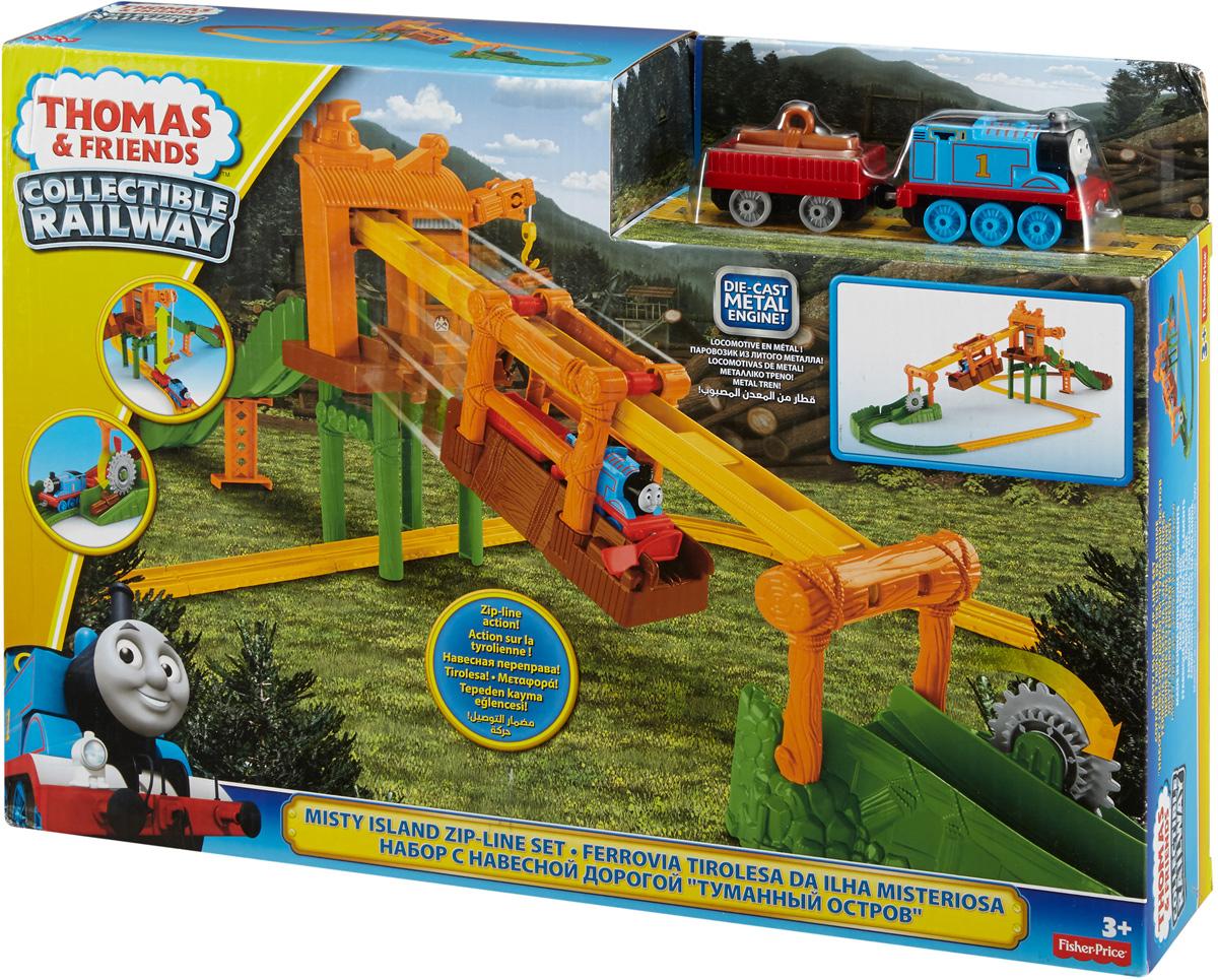 Thomas & Friends Железная дорога Переправа на Туманном островеDGC12На Туманном острове у Томаса важное дело. Старый кран Кряхтун нагружает его бревнами, которые нужно отвезти на лесопилку. Подвижный крюк крана позволяет брать бревна и отправлять их в грузовой вагон Томаса. Когда Томас добирается до поворота и поднимается на холм, рельсы неожиданно обрываются! К счастью, Томас находит переправу и… ух! Железная дорога Thomas & Friends Переправа на Туманном острове в форме восьмерки поможет Томасу переправиться через опасное место и добраться до лесопилки. Для большего веселья пилу на лесопилке можно раскрутить! В набор входят элементы железной дороги, паровозик Томас, грузовой вагон, груз. Набор совместим с другими дорогами Collectible Railway (продаются отдельно).