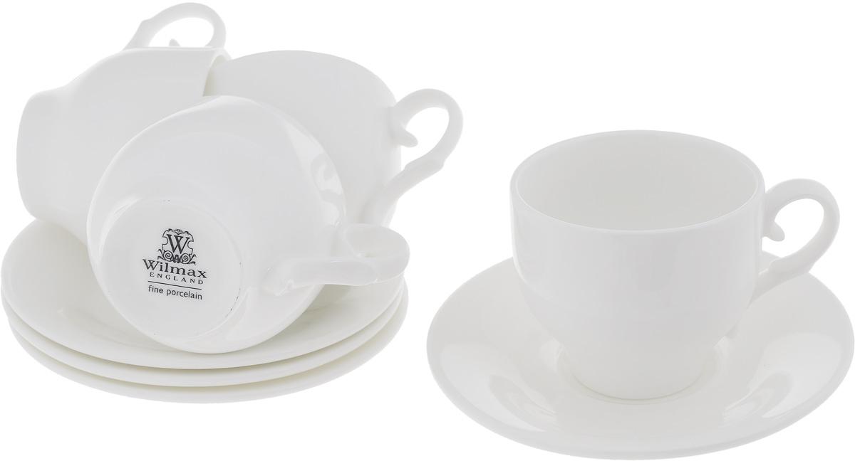 Набор чайный Wilmax, 8 предметов993009R/4CЧайный набор Wilmax состоит из 4 чашек и 4 блюдец, изготовленных из высококачественного фарфора. Такой набор прекрасно дополнит сервировку стола к чаепитию, а также станет замечательным подарком для ваших друзей и близких. Объем чашки: 220 мл. Диаметр чашки (по верхнему краю): 8 см. Высота чашки: 7 см. Диаметр блюдца: 14 см. Высота блюдца: 2 см.