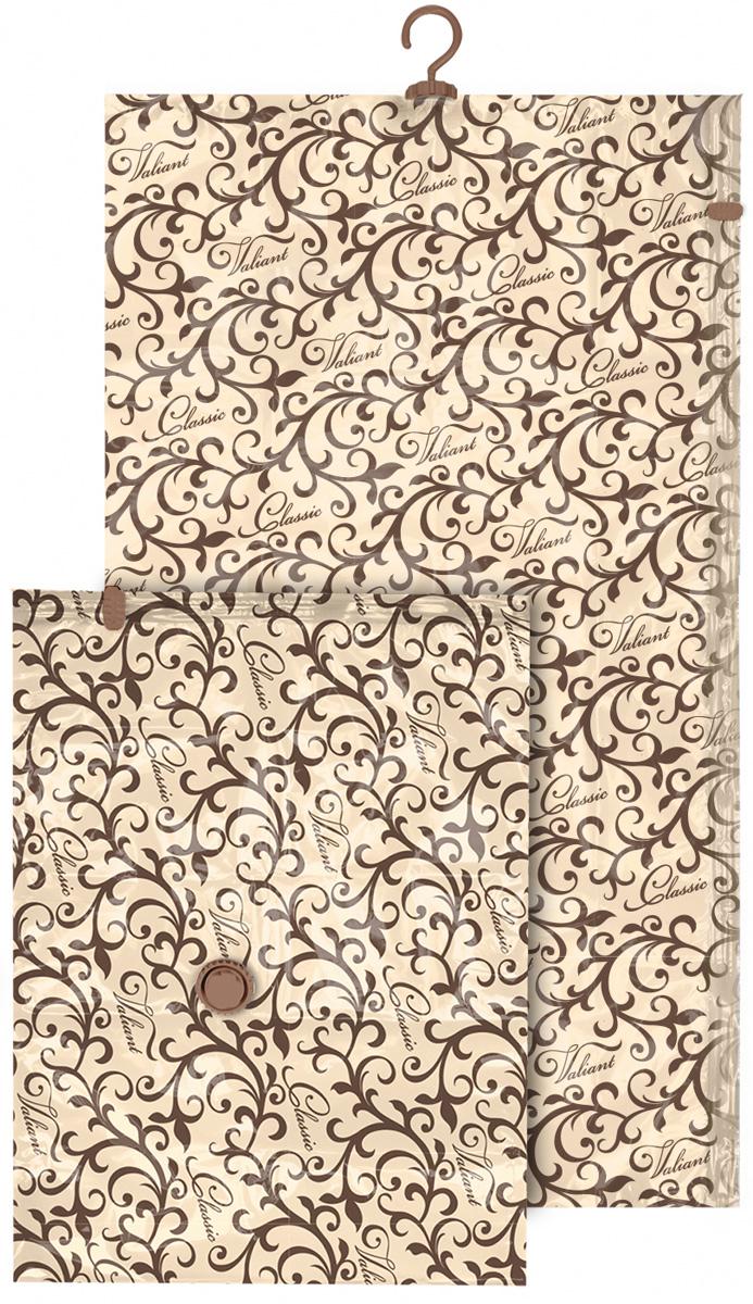 Набор чехлов для вакуумного хранения Valiant Classic, 145 х 70 см, 75 х 55 см, 2 штCL-VS-14775Набор Valiant Classic состоит из двух чехлов для вакуумного хранения, которые помогут существенно сэкономить место в шкафу. Вещи сжимаются в объеме на 80%, полностью сохраняя свое качество. Хранить их можно в течение целого сезона (осенью и зимой - летний гардероб, летом - зимние свитера, шарфы, теплые одеяла). Чехлы также защищают вещи от любых повреждений - влаги, пыли, пятен, плесени, моли и других насекомых, а также от обесцвечивания, запахов и бактерий. Откачать воздух можно любым стандартным пылесосом (отверстие клапана 27 мм) за 30 секунд. Чехлы закрываются на замок zip-lock. Не подходят для изделий из меха и кожи. Размер чехлов: 145 х 70 см, 75 х 55 см.