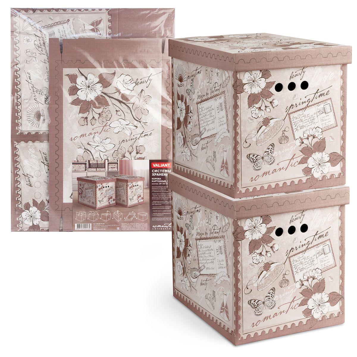 Короб для хранения Valiant Romantic, складной, 28х38х31,5 см, складной, 2 штRM-BCTN-2MКороб картонный Valiant Romantic легкий и прочный. Короб являются самосборным (на упаковке имеется удобная инструкция по сборке). Благодаря прорезным ручкам с двух сторон коробку удобно поднимать и переносить.