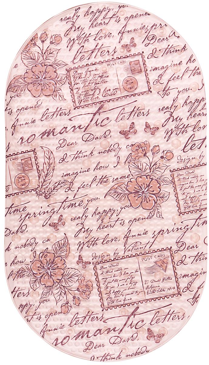 Коврик для ванной Valiant Romantic Letters, 69х39 см, на присосах, противоскользящий