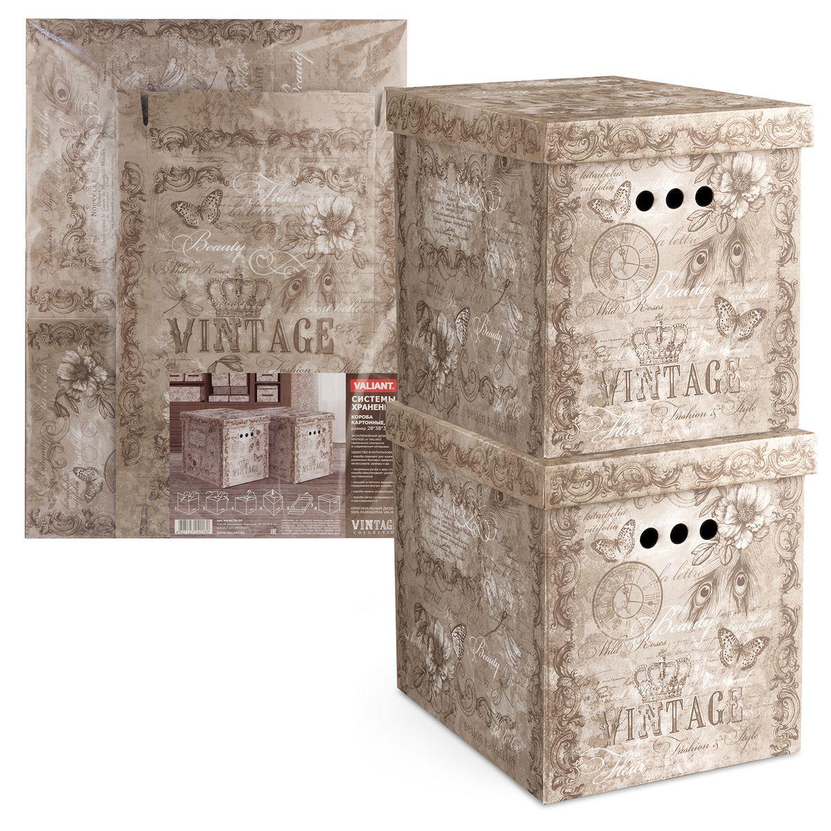 Короб для хранения Valiant Vintage, 28х38х31,5 см, складной, 2 штVN-BCTN-2MКороб картонный Valiant Vintage легкий и прочный. Короб являются самосборным (на упаковке имеется удобная инструкция по сборке). Благодаря прорезным ручкам с двух сторон коробку удобно поднимать и переносить.