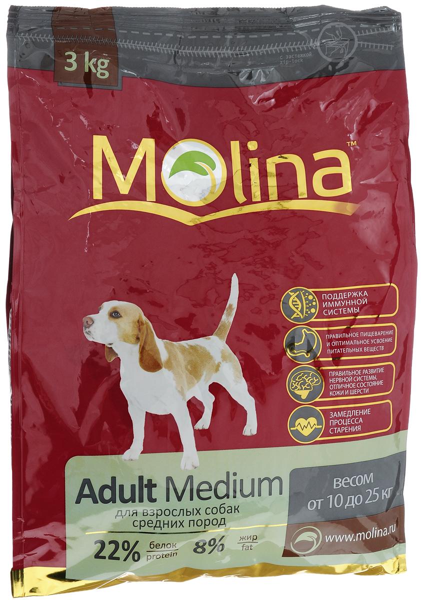 Корм сухой Molina Adult Medium для взрослых собак средних пород, 3 кг4680265000968Полнорационный сухой корм Molina Adult Medium предназначен для взрослых собак средних пород весом от 10 до 25 кг. Специальный комплекс витаминов и антиоксидантов способствует поддержанию иммунитета, замедляет процесс старения и защищает от последствий стресса. Содержание жирных кислот Омега-6 и Омега-3 обеспечивает правильное развитие нервной системы и отличное состояние кожи и шерсти. Вкусовая формула и состав корма позволяют оптимально усваивать питательные вещества. Товар сертифицирован.