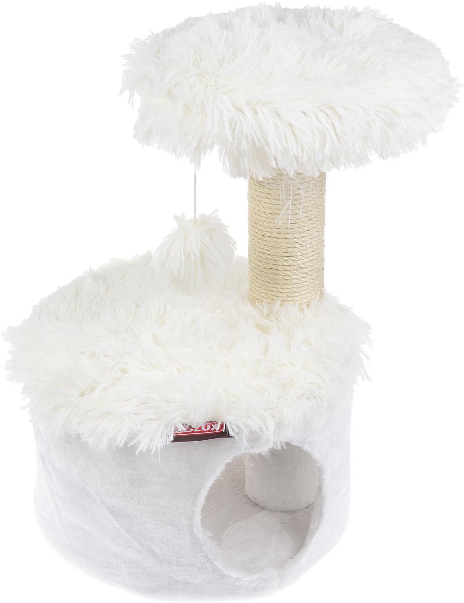 Домик для кошек Zolux Yeti One, с когтеточкой, цвет: белый, 35 х 35 х 52,5 см3336020040700 / 504070YEBБольшой, уютный домик с когтеточкой Zolux Yeti One отлично подойдет для котят и взрослых кошек. Изделие выполнено из дерева и обтянута искусственным мехом. Круглый домик расположен на небольшой подставке, а сверху устанавливается когтеточка с игрушкой. Такой домик станет не только идеальным местом для подвижных игр вашего любимца, но и местом для отдыха. Благодаря столбику-когтеточке, обернутой веревками из сизаля, ваша кошка удовлетворит природную потребность точить когти, что поможет сохранить вашу мебель и ковры. Для приучения любимца к когтеточке можно натереть ее сухой валерьянкой или кошачьей мятой. Длина когтеточки: 27 см. Диаметр отверстия: 16 см.