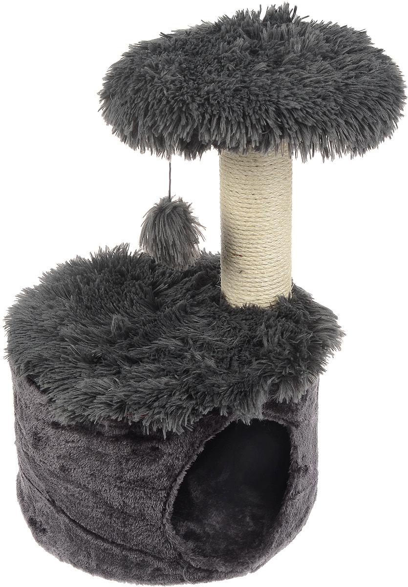 Домик для кошек Zolux Yeti One, с когтеточкой, цвет: темно-серый, белый, 35 х 35 х 52,5 см3336020040704Большой, уютный домик с когтеточкой Zolux Yeti One отлично подойдет для котят и взрослых кошек. Изделие выполнено из дерева и обтянута искусственным мехом. Круглый домик расположен на небольшой подставке, а сверху устанавливается когтеточка с игрушкой. Такой домик станет не только идеальным местом для подвижных игр вашего любимца, но и местом для отдыха. Благодаря столбику-когтеточке, обернутой веревками из сизаля, ваша кошка удовлетворит природную потребность точить когти, что поможет сохранить вашу мебель и ковры. Для приучения любимца к когтеточке можно натереть ее сухой валерьянкой или кошачьей мятой. Длина когтеточки: 27 см. Диаметр отверстия: 16 см.