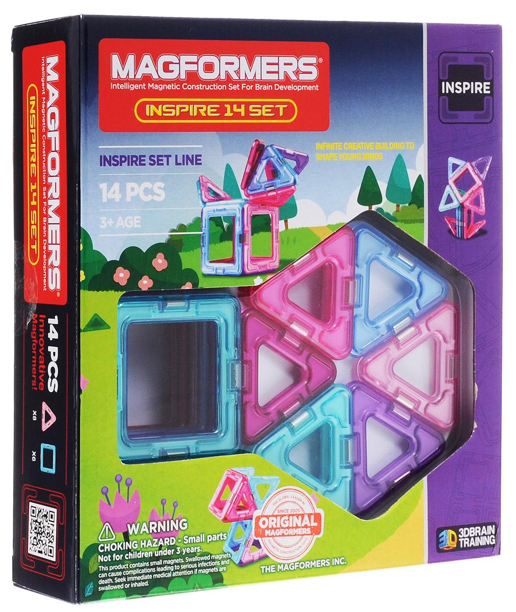 Magformers Магнитный конструктор Inspire 14 Set704001_NewМагнитный конструктор Magformers Inspire 14 Set не содержит мелких деталей, что делает его абсолютно безопасным. Конструктор подходит детям с трех лет. Это специальное издание в мягких пастельных цветах. Нежные оттенки розового, фиолетового и голубого особенно придутся по душе девочкам. Набор прекрасно подойдет тем, кто только начинает знакомство с магнитными конструкторами Magformers. В его состав входят 14 элементов: 6 квадратов и 8 треугольников. С этими базовыми деталями ребенок быстро освоит построение предметов на плоскости, а затем с легкостью перейдет к конструированию трехмерных моделей. Каждая деталь содержит окошко из цветного прозрачного пластика, что открывает новые возможности для творчества. Конструкторы Magformers - это неиссякаемый источник веселья и творчества! В процессе соединения деталей магниты сами поворачиваются друг к другу нужной стороной, что делает процесс сборки таким легким и удобным. Магниты надежно удерживают соединения деталей - с...