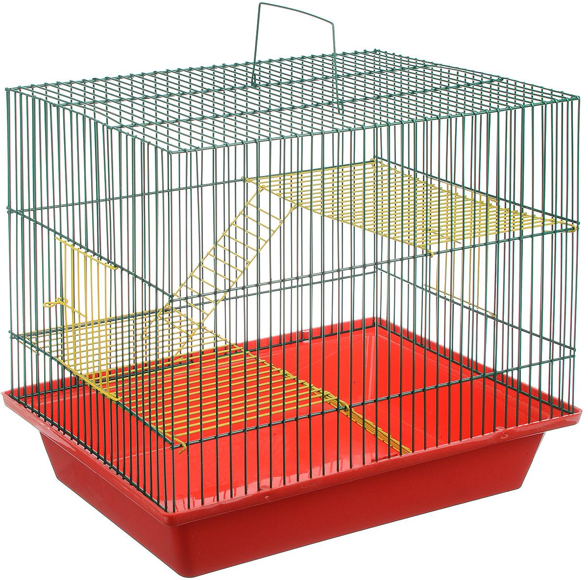 Клетка для грызунов ЗооМарк Гризли, 3-этажная, цвет: красный поддон, зеленая решетка, желтые этажи, 41 х 30 х 36 см. 230ж230ж_красный, зеленыйКлетка ЗооМарк Гризли, выполненная из полипропилена и металла, подходит для мелких грызунов. Изделие трехэтажное. Клетка имеет яркий поддон, удобна в использовании и легко чистится. Сверху имеется ручка для переноски. Такая клетка станет уединенным личным пространством и уютным домиком для маленького грызуна.