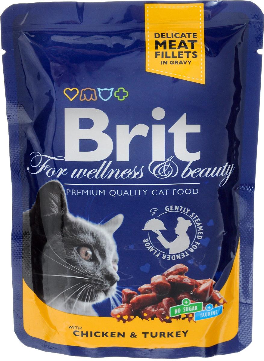 """Консервы для кошек """"Brit Premium"""", с курицей и индейкой, 100 г 8595602506019"""