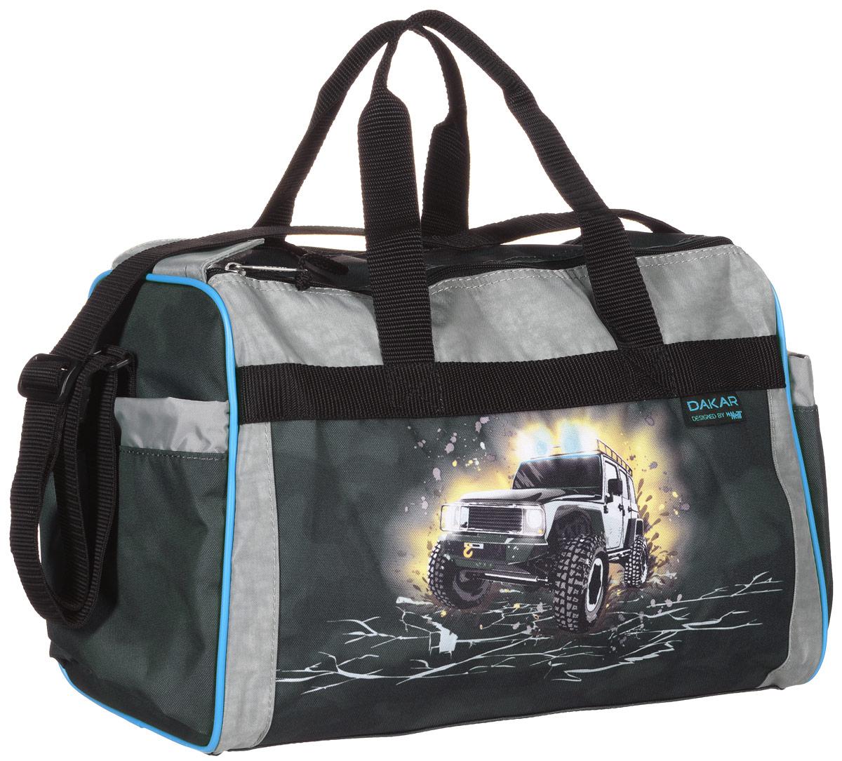 McNeill Сумка детская Дакар9105154000Спортивная сумка McNeill Дакар выполнена из высококачественного материала серого цвета и оформлена рисунком с внедорожником. Сумка состоит из одного вместительного отделения, закрывающегося на две застежки-молнии и липучку. Бегунки на застежках соединены текстильным шнурком. На внешней стороне сумки расположен объемный втачной карман для обуви, закрывающийся на застежку-молнию. По бокам находятся два накладных кармана, затягивающиеся сверху текстильными шнурками с фиксаторами. Спортивная сумка оснащена двумя текстильными ручками для переноски в руке и плечевым ремнем, регулируемым по длине. На дне сумки расположены четыре широкие пластиковые ножки, которые защитят ее от грязи и продлят срок службы.