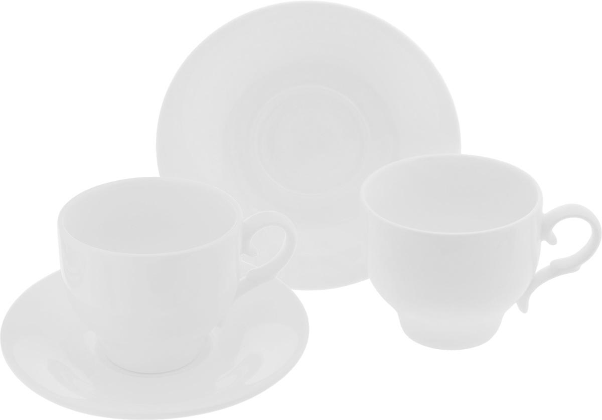Набор чайный Wilmax, 4 предмета993009R/2CЧайный набор Wilmax состоит из 2 чашек и 2 блюдец, изготовленных из высококачественного фарфора. Такой набор прекрасно дополнит сервировку стола к чаепитию, а также станет замечательным подарком для ваших друзей и близких. Объем чашки: 220 мл. Диаметр чашки (по верхнему краю): 8 см. Высота чашки: 7 см. Диаметр блюдца: 14 см. Высота блюдца: 2 см.