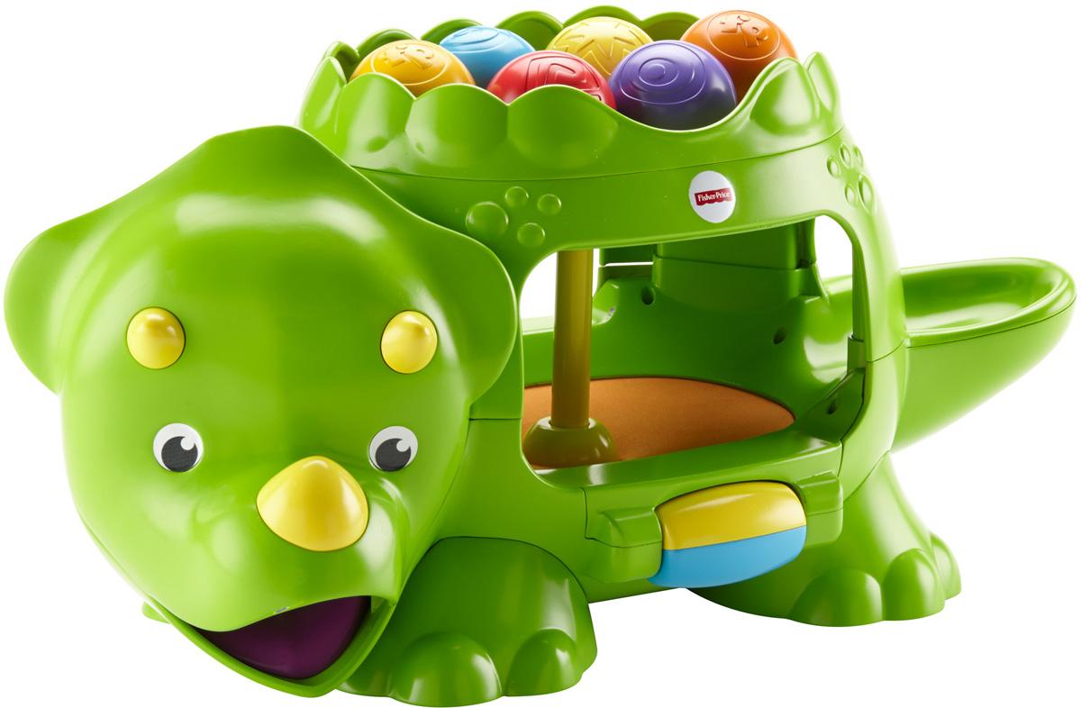 Fisher Price Развивающая игрушка Динозавр с шарикамиDHW03Чтобы динозавр ожил и принялся издавать забавные звуки и музыку, а также заставил мячи подпрыгивать двумя разными способами, просто поверните барабан. Самое веселье начинается, когда ребенок бросает мяч сквозь спину, хвост или живот динозавра. Пока мяч скачет внутри, раздаются забавные звуки и мелодии. Но откуда мяч выскочит — не знает никто! Маленькому непоседе непременно понравится раз за разом (и еще много-много раз) ползать за мячами, которые выскакивают изо рта, хвоста или живота.