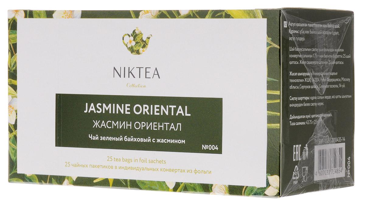 Niktea Jasmine Oriental чай зеленый в пакетиках, 25 штTALTHA-BP0011Niktea Jasmine Oriental - воздушный зеленый чай с белоснежными бутонами жасмина раскрывается в утонченном, глубоком букете. NikTea следует правилу качество чая - это отражение качества жизни и гарантирует: Тщательно подобранные рецептуры в коллекции топовых позиций-бестселлеров. Контролируемое производство и сертификацию по международным стандартам. Закупку сырья у надежных поставщиков в главных чаеводческих районах, а также в основных центрах тимэйкерской традиции - Германии и Голландии. Постоянство качества по строго утвержденным стандартам. NikTea - это два вида фасовки - линейки листового и пакетированного чая в удобной технологичной и информативной упаковке. Чай обладает многофункциональным вкусоароматическим профилем и подходит для любого типа кухни, при этом постоянно осуществляет оптимизацию базовой коллекции в соответствии с новыми тенденциями чайного рынка. Фильтр-бумага для пакетированного чая NikTea...