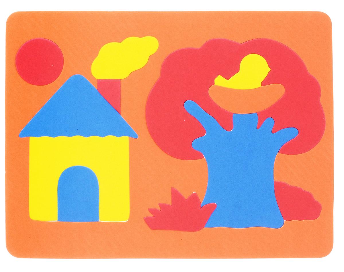 Фантазер Пазл для малышей Дом и дерево цвет основы оранжевый063551Д_оранжевыйПазл для малышей Фантазер Дом и дерево выполнен из мягкого полимера, который дает юному конструктору новые удивительные возможности в игре: детали пазла гнутся, но не ломаются, их всегда можно состыковать. Пазл представляет собой рамку, в которой из отдельных элементов собирается домик, дерево с птичкой в гнезде, солнышко. Ваш ребенок сможет собрать пазл и в ванной. Элементы можно намочить, благодаря чему они будут хорошо прилипать к стене в ванной комнате. Такая игра развивает пространственное мышление, глазомер, знакомит с формами и цветами предметов в процессе игры.