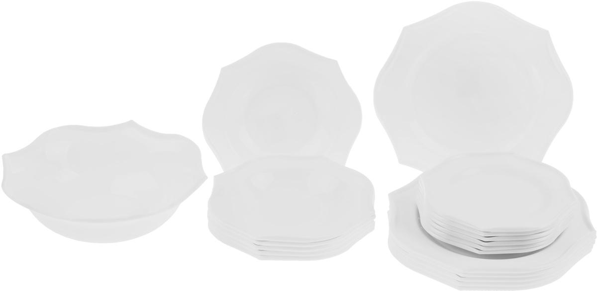 Набор столовой посуды Luminarc Louisa, 19 предметовJ2677Набор Luminarc Louisa состоит из 6 суповых тарелок, 6 обеденных тарелок, 6 десертных тарелок и глубокого салатника. Изделия выполнены из ударопрочного стекла и имеют оригинальную форму. Посуда отличается прочностью, гигиеничностью и долгим сроком службы, она устойчива к появлению царапин и резким перепадам температур. Такой набор прекрасно подойдет как для повседневного использования, так и для праздников или особенных случаев. Набор столовой посуды Luminarc Louisa - это не только яркий и полезный подарок для родных и близких, а также великолепное дизайнерское решение для вашей кухни или столовой. Размер суповой тарелки: 22,5 х 22,5 см. Высота суповой тарелки: 3,5 см. Размер обеденной тарелки: 29 х 29 см. Высота обеденной тарелки: 2,2 см. Размер десертной тарелки: 21 х 21 см. Высота десертной тарелки: 2 см. Размер салатника: 27 х 27 см. Высота стенки салатника: 9 см.