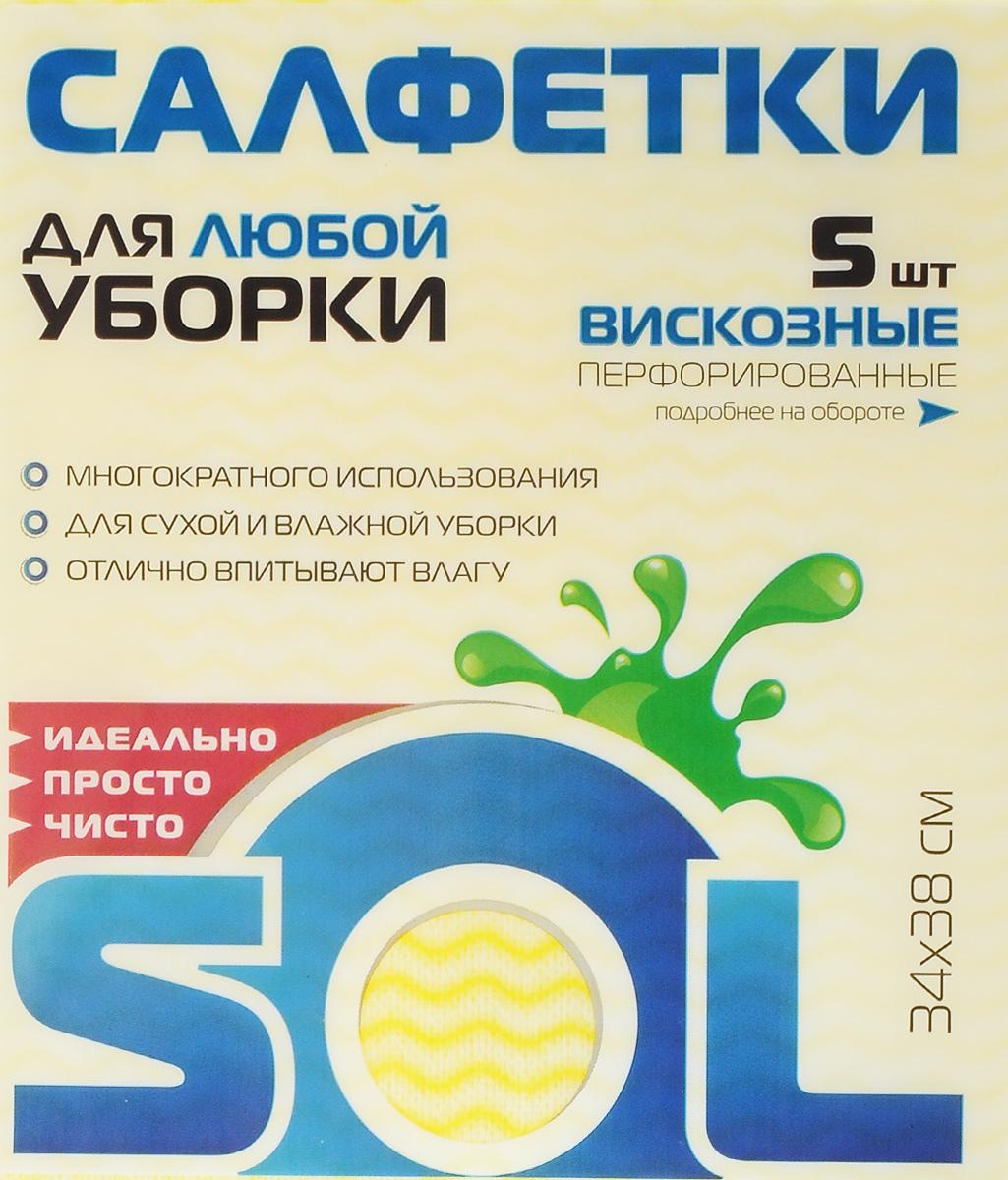 Салфетка для уборки Sol, из вискозы, перфорированная, цвет: желтый, 34 x 38 см, 5 шт10005/10053_желтый (новый дизайн упаковки)Перфорированные салфетки Sol, выполненные из вискозы, предназначены для сухой и влажной уборки и могут применяться с различными моющими средствами. Благодаря перфорации салфетка быстро высыхает, что позволяет избежать возникновения неприятных запахов. Отлично подходит для полировки различных поверхностей, не оставляет разводов и ворсинок, хорошо впитывает влагу. Рекомендации по уходу: Для обеспечения гигиеничности уборки после применения прополоскать в теплой воде. Для продления срока службы не применять машинную стирку, не гладить и не кипятить.