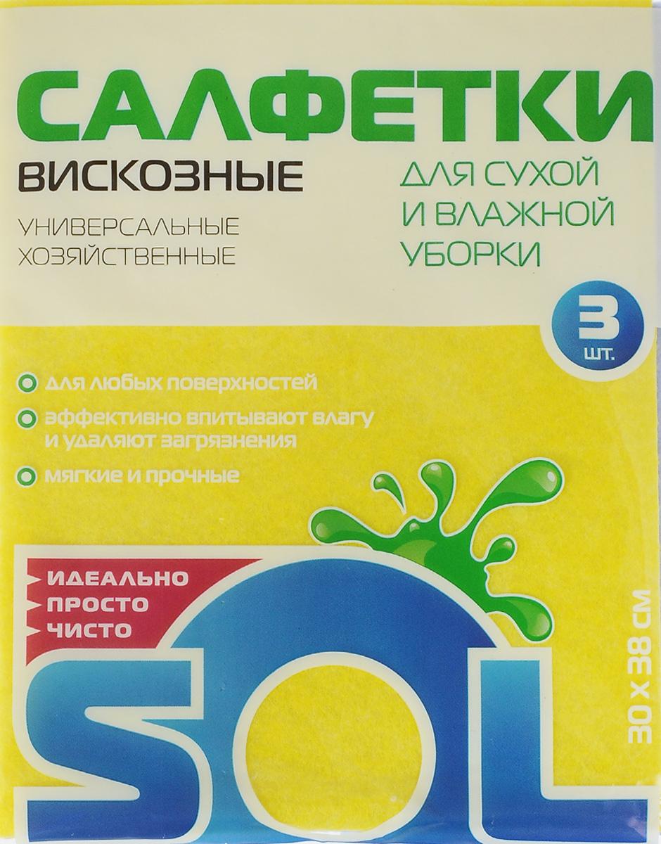 Салфетка для уборки Sol из вискозы, универсальная, цвет: желтый, сиреневый, 30 x 38 см, 3 шт10002/10054_желтый, голубойСалфетки для уборки Sol, выполненные из вискозы и полиэстера, предназначены для уборки и могут применяться с различными моющими средствами. Эффективно впитывают жидкость. Мягкие и прочные, легко отжимаются и быстро сохнут. Рекомендации по уходу: Для обеспечения гигиеничности уборки после применения прополоскать в теплой воде. Для продления срока службы не применять машинную стирку, не гладить и не кипятить.
