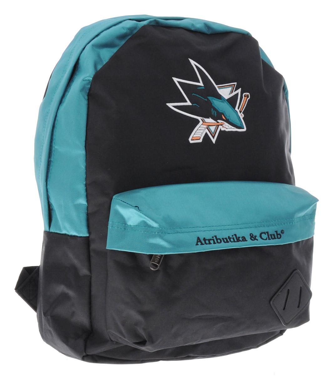 Рюкзак спортивный NHL SJ Sharks, цвет: черный, бирюзовый, 18 л58043Спортивный рюкзак NHL SJ Sharks выполнен из высококачественного полиэстера. Изделие имеет одно основное отделение, которое закрывается на застежку- молнию двумя бегунками. Спереди расположен большой нашивной карман на застежке-молнии, внутри которого находятся один накладной карман, небольшой карман на молнии и четыре маленьких кармашка для мелочей без застежек. Лямки оснащены специальными фиксаторами длины. Лицевую часть рюкзака украшает логотип хоккейного клуба SJ Sharks.