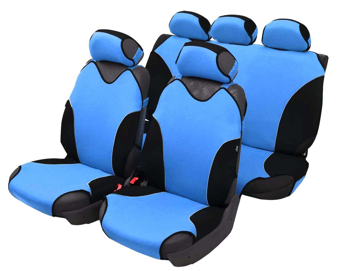 Чехол-майка Azard Turbo, полный комплект, цвет: светло-синий, 4+5 предметовМАЙ00080Универсальные чехлы-майки на сидения автомобиля. Спортивный динамичный дизайн с контрастными боковыми вставками. Чехлы надежно прилегают к автокреслам и не собираются в процессе эксплуатации. Применимы в автомобилях с боковыми подушками безопасности (AIR BAG). Материал триплирован огнеупорным поролоном 2 мм, за счет чего чехол приобретает дополнительную мягкость и устойчивость к возгоранию. Авточехлы майки Azard Turbo износоустойчивы и легко стирается в стиральной машине. Рекомендуется стирка в деликатном режиме.
