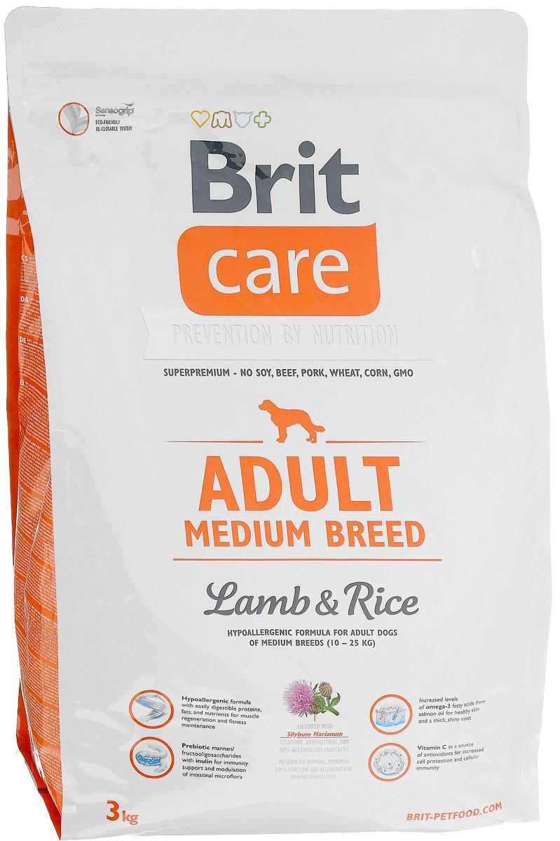 Корм сухой Brit Care Adult Medium Breed для взрослых собак средних пород, с ягненком и рисом, 3 кг8595602509935Сухой корм Brit Care Adult Medium Breed - это полноценный рацион для взрослых собак средних пород весом от 10 до 25 кг. Экстракт юкки защищает кишечник и печень от токсичности аммиака и предотвращает разложение гемоглобина. Оптимальное соотношение Омега-3 и Омега-6 жирных кислот с органическим цинком и медью обеспечивает здоровое состояние кожи и улучшает качество шерсти. Товар сертифицирован.