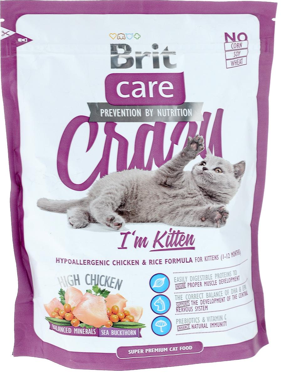 Корм сухой Brit Care Crazy Kitten для котят, беременных и кормящих кошек, с курицей и рисом, 400 г8595602505531Сбалансированный корм Brit Care Crazy Kitten предназначен для котят (от 1 до 12 месяцев), беременных и кормящих кошек с курицей и рисом. Входящие в состав протеины хорошо усваиваются и улучшают развитие мускулатуры. Правильный баланс ДПА и ЭПА поддерживает развитие мозга. Пребиотики и витамин С укрепляют иммунную систему. Преимущества: - Высокое содержание мяса (25% дегидрированной курицы, 22% куриного филе). - Сбалансированный минеральный состав. - Облепиха крушиновидная, обладающая противовоспалительным и антибактериальным действием. А также обеспечивает защиту мочевыводящей системы. - Гипоаллергенный состав. - Витамин С и гексаметафосфат натрия. Товар сертифицирован.