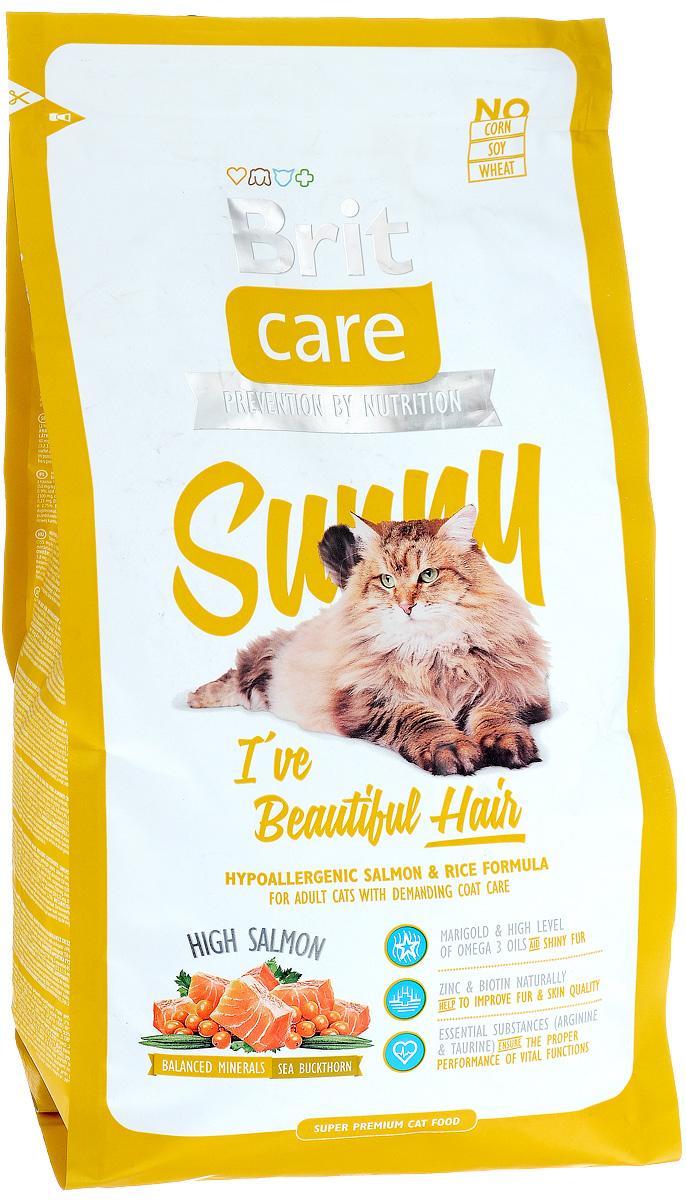 Корм сухой Brit Care Sunny для кошек, для ухода за кожей и шерстью, 2 кг8595602505616Гипоаллергенный корм Brit Care Sunny с мясом лосося и рисом предназначен для взрослых кошек длинношерстных пород или с шерстью, требующей особого ухода. Корм с высокой усвояемостью, с добавлением масла лосося, органического цинка и со сбалансированным содержанием ненасыщенных жирных кислот Омега-3 и Омега-6 для здоровой кожи и красивой, мягкой шерсти. Преимущества: - Высокое содержание мяса. - Сбалансированный минеральный состав. - Гипоаллергенный состав. Товар сертифицирован.