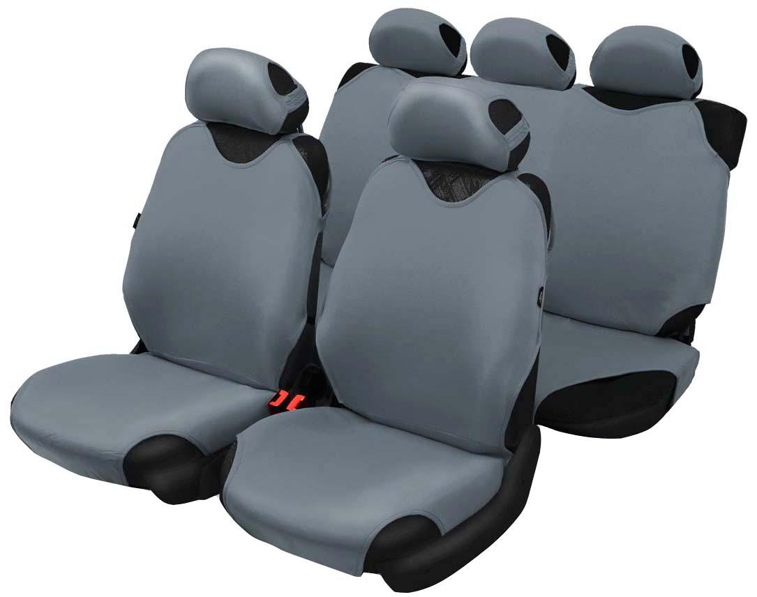 Чехол-майка Azard Cotton, полный комплект, цвет: темно-серый, 4+5 предметовМАЙ00014Универсальные чехлы-майки на передние сидения автомобиля. Приятный на ощупь мягкий материал имеет в своем составе 70% хлопка. Чехлы надежно прилегают к автокреслам и не собираются в процессе эксплуатации. Применимы в автомобилях с боковыми подушками безопасности (AIR BAG). Материал триплирован огнеупорным поролоном 2 мм, за счет чего чехол приобретает дополнительную мягкость и устойчивость к возгоранию. Авточехлы майки Azard Cotton износоустойчивы и легко стирается в стиральной машине. Рекомендуется стирка в деликатном режиме.