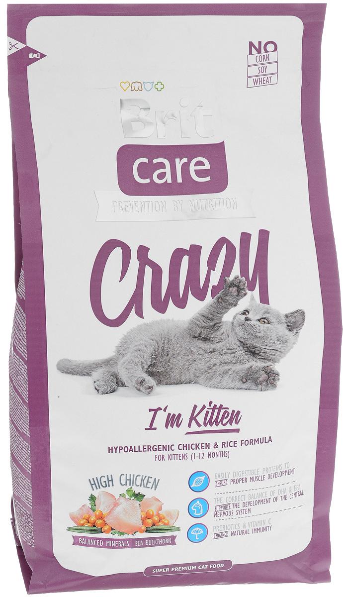 Корм сухой Brit Care Crazy Kitten для котят, беременных и кормящих кошек, с курицей и рисом, 2 кг8595602505524Сбалансированный корм Brit Care Crazy Kitten предназначен для котят (от 1 до 12 месяцев), беременных и кормящих кошек с курицей и рисом. Входящие в состав протеины хорошо усваиваются и улучшают развитие мускулатуры. Правильный баланс ДПА и ЭПА поддерживает развитие мозга. Пребиотики и витамин С укрепляют иммунную систему. Преимущества: - Высокое содержание мяса (25% дегидрированной курицы, 22% куриного филе). - Сбалансированный минеральный состав. - Облепиха крушиновидная, обладающая противовоспалительным и антибактериальным действием. А также обеспечивает защиту мочевыводящей системы. - Гипоаллергенный состав. - Витамин С и гексаметафосфат натрия. Товар сертифицирован.